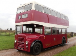 Red double deck bus for weddings in Nottingham